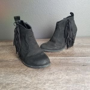 Qupid Black Fringe Ankle Bootie